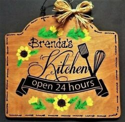 SUNFLOWER Personalize KITCHEN Name SIGN Wall Art Hanger Plaque Country Decor $14.45