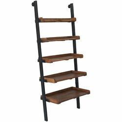 Renwil Bordo 5 Shelf Ladder Bookcase in Natural and Antique Black
