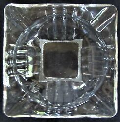 Vintage Clear Glass Square Cigar Ashtray with Symmetrical Concave Flutes - NICE!