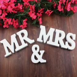 Wedding Party Wooden White Mr and Mrs Letter Sign Table Top Standing Table Decor