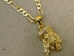 Men's Lady's Yellow Gold Plated Jesus Head 6 CZ Charm & Figaro Necklace 20 24