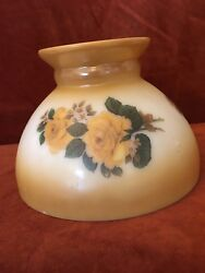 Vintage GWTW Milk Glass Lamp Shade Oil Kerosene Student Gold Rose Design 8