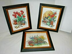 Vintage~Set~3 Framed Botanicals~Flowers~Garden She Shed~Wood Wagon~Barbara Mock