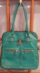 Street Level Large Teal Green Handbag Purse Bowler Style Faux Leather New