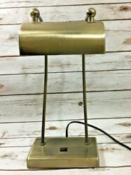 Vintage Antique Brass Piano Lamp -Double Arm Adjustable Shade Bankers Desk Lamp