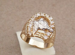 Men's Yellow Gold Rhodium Plated 14 CZ Horse Shoe Ring Size 10 11 12 13 14 15.5