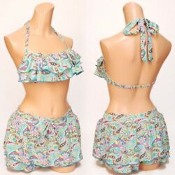 3PC bikini and top with skirt ruffly Japan Design New Size M green print $12.99