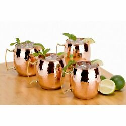 Set of 4 Moscow Mule Mugs 16 oz.Drinks Beer Water Kitchen Hammered Solid Copper