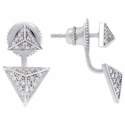 Triangle diamond earrings 18k white gold. 0.48 carats in diamonds