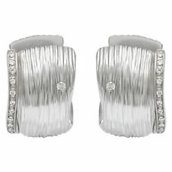 Roberto Coin Elephant skin earrings in 18k white gold with 0.12 cts in diamonds