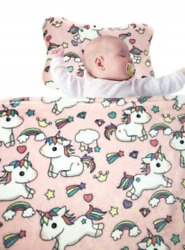 Baby Head Shaping Pillow and Blanket Set Pink Unicorn 8 x 11 inches