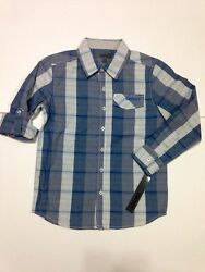 Nwt DKNY Designer Boys Blue Gray Plaid Shirt Size S Retail $38