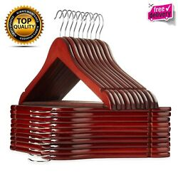 Wooden Suit Hangers with Cherry Finish Crafted Durable lightweight Pack Of 20