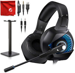 ONIKUMA K6 Blue LED Gaming Headset + Stand for Xbox One PS4 Nintendo Switch PC