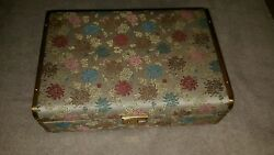 TAPESTRY JEWELRY TRINKET BOX BLUE VELVET LINED GOLD METAL ORIENTAL DESIGN 9.5
