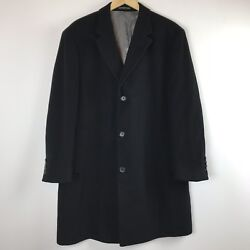 Calvin Klein Mens Coat Size 44R Black Wool Cashmere Blend Button Front Lined