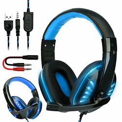 For PS4 Gaming Headset Xbox One Headphone PC Earphone 3.5mm Stereo Bass with Mic $21.97