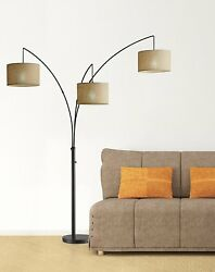 Designer Floor Lamp Antique Bronze Light Vintage Modern Home Decor Living Room $319.97