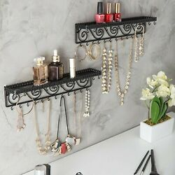 Shelf Jewelry Display Shelves Organizer Necklace Hanging Hooks Wall Mount 2 Pack