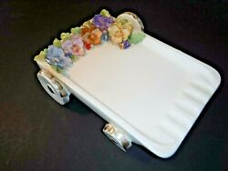 Vintage~Ceramic~Pansy Flower Cart~Ashtray~Great for Patio~She Shed~Garden~Unique