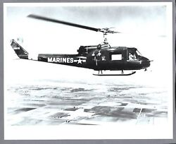 BELL UH 1E HELICOPTER LARGE VINTAGE PHOTO US MARINE CORPS IROQUOIS $18.95