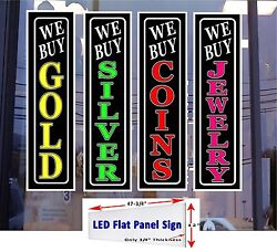 We Buy Gold Silver Coins Jewelry 48x12 4 LED Flat Panel Light box sign package!