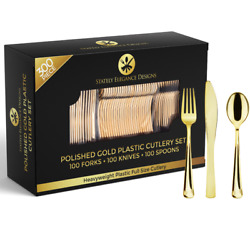 300 Piece Gold Plastic Silverware Set 100 Forks 100 Knives and 100 Spoons $32.99
