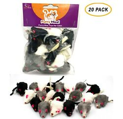 20 Furry Mice with Catnip amp; Rattle Sound Made of Real Rabbit Fur Cat Toy Mouse $14.95