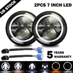 2x 7 Inch Round LED Headlights Halo Angle Eyes For Jeep Wrangler JK LJ TJ CJ