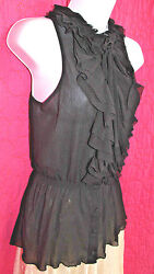 WHITE HOUSE BLACK MARKET Black Net  Ruffled Front Top Sz S Sexy Button Up Blouse