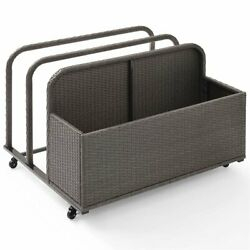 Crosley Palm Harbor Wicker Patio Float Caddy in Weathered Gray