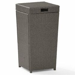 Crosley Palm Harbor Wicker Patio Trash Can in Weathered Gray