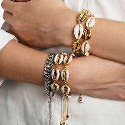 Women Summer Beach Jewelry Set Gold Color Shell Necklace Cowrie Bracelet