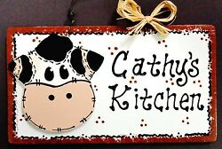 COW Personalize KITCHEN Name SIGN Barnyard Farm Country Decor Wall Art Plaque $13.95
