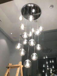 Clear Glass Globe Chandelier Living Room Lights Pendant Lamp Stair Ceiling #YB11 $225.00