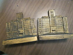 Pair of antique Bronx Hospital Cast Iron Bookends  Donor Building Fund