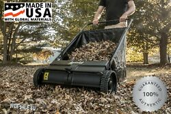 """Push Lawn Sweeper Yard Grass Care Easy Dumping Durable Lightweight Poly 26"""" USA"""