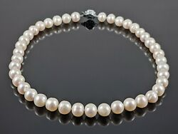 8mm Genuine Freshwater Round White Pearl Single Strand Necklace