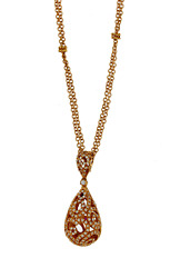 Roberto Coin 18ct Rose Gold Pave Diamond Tear Drop Mauresque Pendant