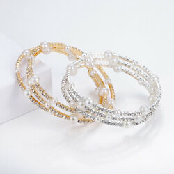 1PCS Women Multilayer Rhinestones Pearl Bracelets Stretch Charm Wristband Gifts
