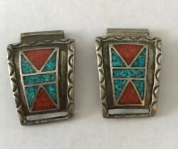 Southwestern Sterling Silver Mosaic Turquoise Coral Tribal Pendant Belt 29gr