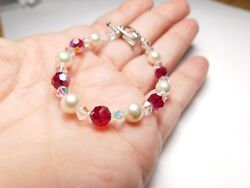 Glass Faux Pearl Red AB Crystal Made with Swarovski Parts Bracelet Vintage $10.17