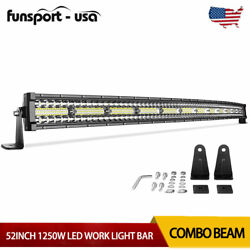 52inch 1250W Curved LED Light Bar Tri Row Combo Offroad Roof Light For Truck ATV $69.99