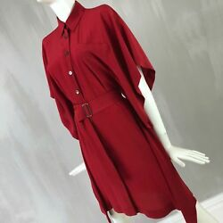 Hermes Women Red Silk Shirt Cape Belt Day Cocktail Summer Dress Size XS 34 US 2