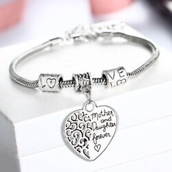 2019 Love Heart Bangle Bracelet Chain Adjustable Mother and Daughter Forever