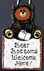 BEAR BOTTOMS Bath Bathroom SIGN Country Rustic Decor Wall Hanger Hanging Plaque $14.45
