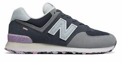 New Balance Men's 574 Marbled Street Shoes Navy With Purple