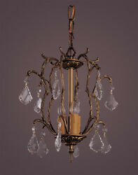 3 Light French Brass And Crystal Mini Chandelier $125.00