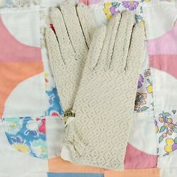 Beige Lace Gloves Vtg Japan Tiny Button Stretch NOS Pin Up Model Original Tags $22.99