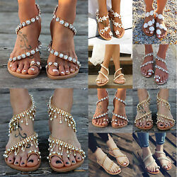 Womens Boho Pearl Floral Sandals Summer Holiday Beach Rhinestone Flat Shoes Size